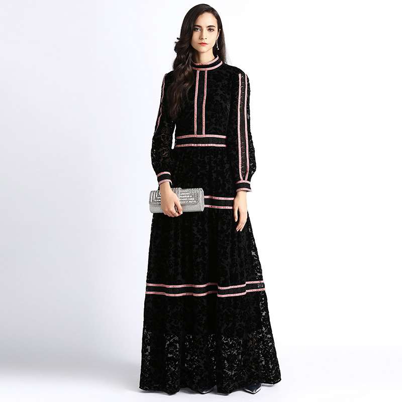 48cd8a13ea82 ... High quality fashion runway Maxi dress Women s Long Sleeve Embroidered  Hollow Out flower Vintage Slim Party ...