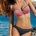 Women Maternity Fashion Stripe Gathered Pads Underwire Swimwear 2PCS Swimsuits Bikini Set