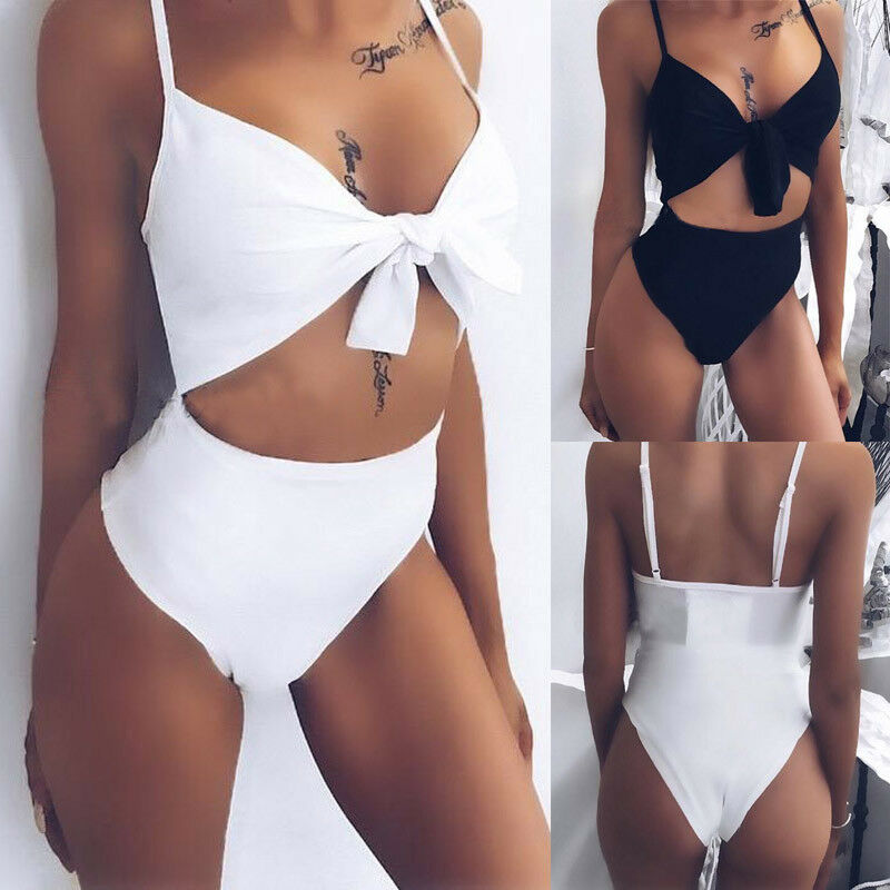 Women One-Piece Swimsuit Bandage Bikini Push-up Padded Bathing Suit Solid one Piece Swimwear