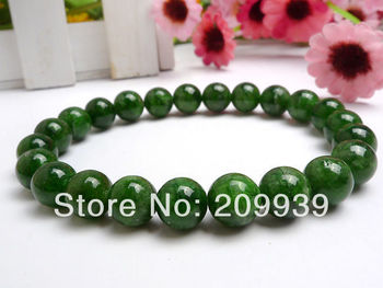 huij 00467 8 mm Stunning Russia Natural Green Diopside Round Beads Bracelet