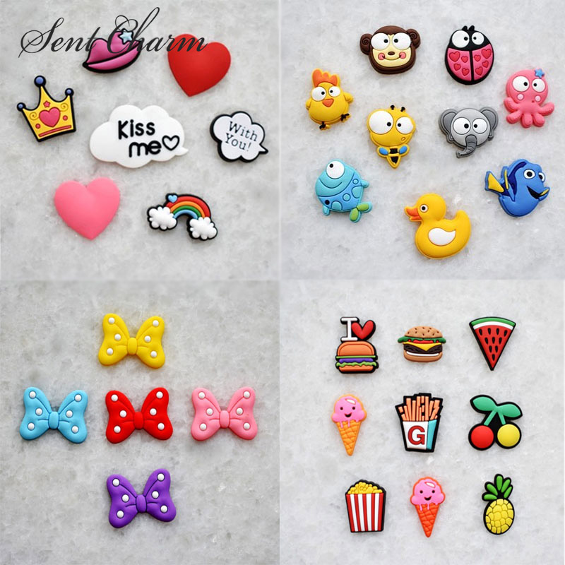 Free Shipping 1000pcs/pack Novelty Bowknot Food Shoes Decoration Fir For Garden Shoes Ice Cream Shoes Buckle Kids Gifts Girls
