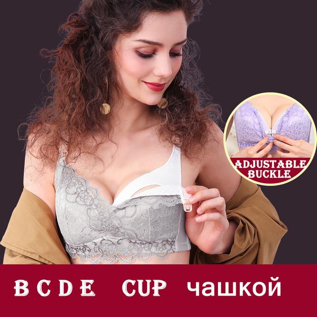 2018 Maternity Bra Cotton Nursing Breastfeeding Bra B C D E Cup Pregnant Woman Wire Free Feeding Bra Adjustable Prevent Sagging