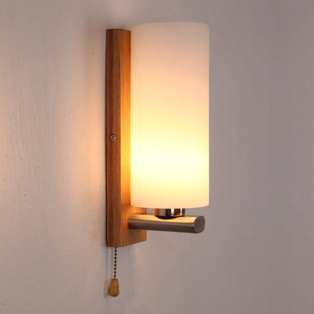 brief glass wall lamp bed lighting bedroom solid wood wall lamp with switch single - Lights For Bedroom Wall