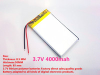 1PCS Free Shipping Size 855085 3 7V 4000mah Lithium Polymer Battery For IPad 3 Tablet PCs