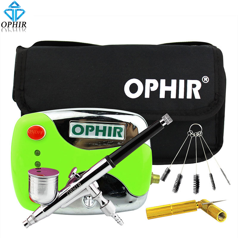 OPHIR 0.3mm Dual Action Airbrush Kit with Air Compressor & Cleaning KIt & Bag for Cake Decorating Nail Art Air-brush_AC002+004A ophir professional dual action airbrush compressor kit with air tank for cake decorating model hobby tattoo  ac053 ac004 ac070