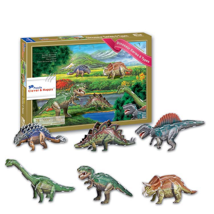 2014 new clever&happy land 3d puzzle model Dinosaur Series 6 Types adult puzzle diy pape ...