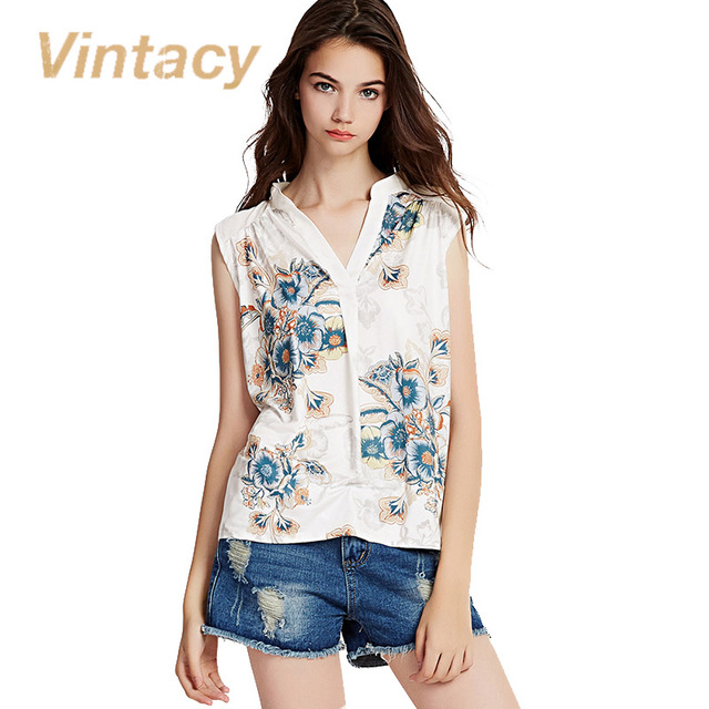 Vintacy 2017 New summer tank tops Style Women white floral print v round neck Sleeveless Casual Tank Tops for women streetwear