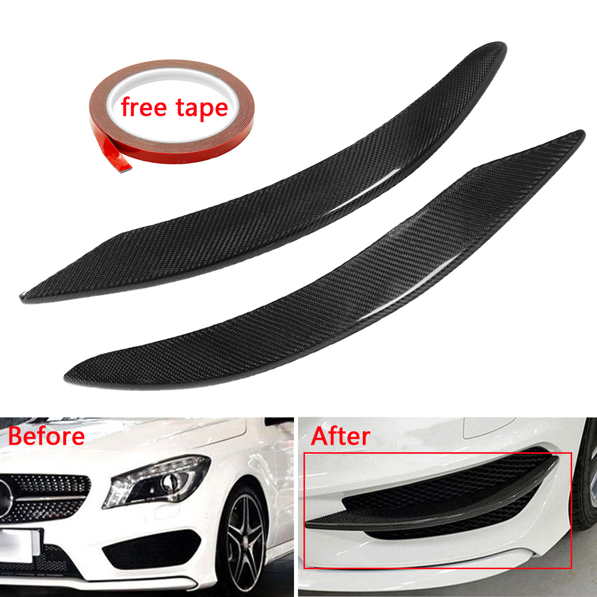High quality 1pair Car Modified Real Carbon Fiber Front lip Splitter Spoiler Cup Flaps for Mercedes for Benz W117 C117 CLA F1010 for benz cla c117 w117 inner door window switch button cover 2014 2017 14pcs