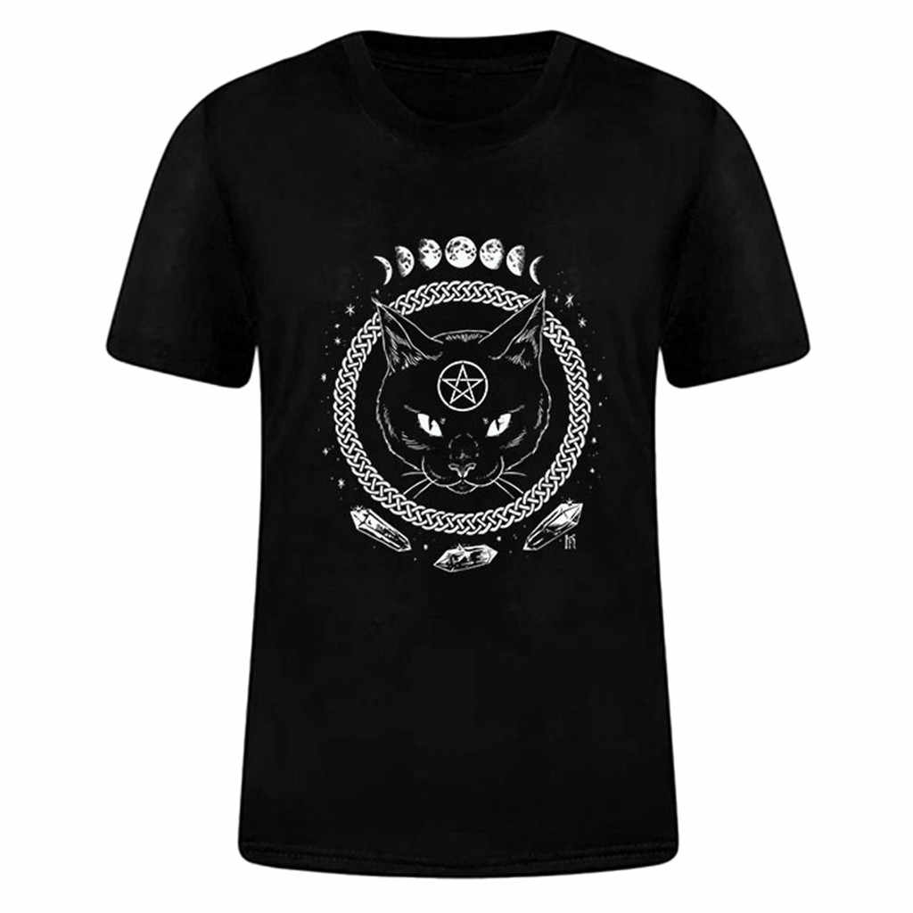 08204c8e Korean Style Clothes Aesthetic Women Girl Funny Short Sleeve Moon Cat Print  Punk Gothic Top T
