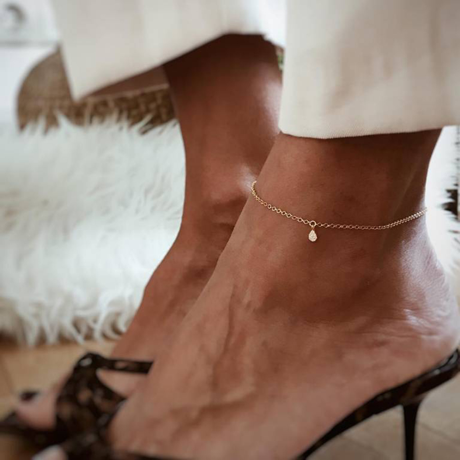 Water droplets Female Anklets Barefoot Crochet Sandals Foot Jewelry Anklets On Foot Ankle Bracelets For Women Fashion Leg Chain