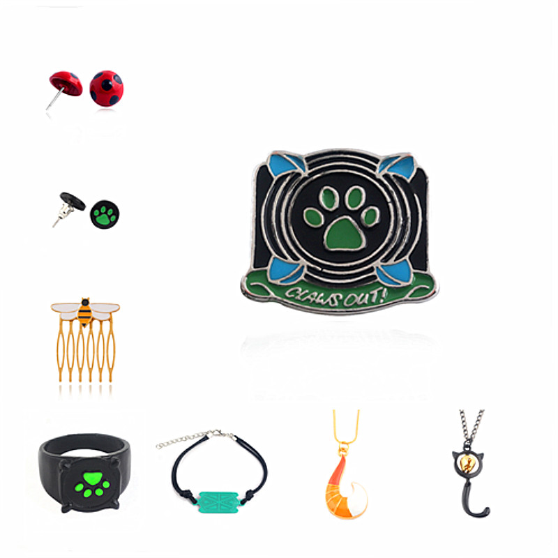 цены 20PC Rongji jewelry Miraculous Ladybug Black Cat Green Paw Print Enamel badge charms Brooch Pin men and women cosplay