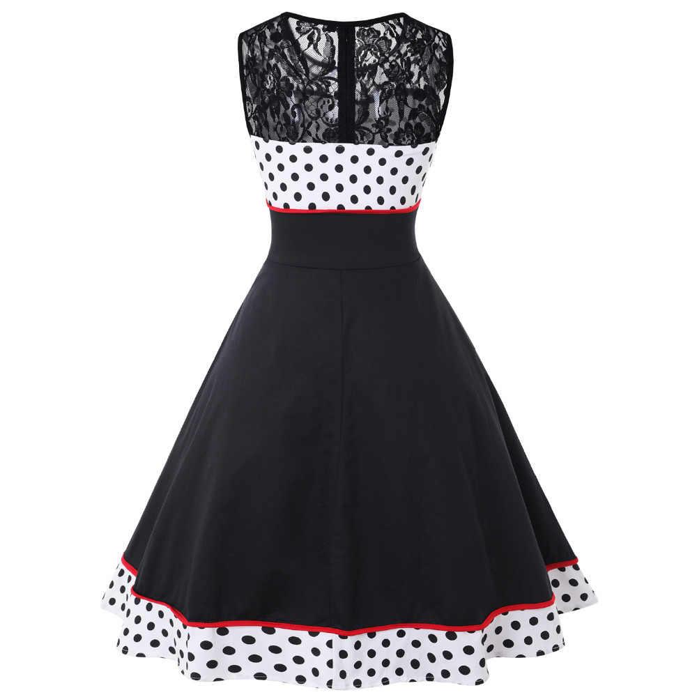 4XL размера плюс Pin Up 50s платье в горошек черно-белое лоскутное кружевное винтажное платье Свинг Vestidos 1960s вечерние платья