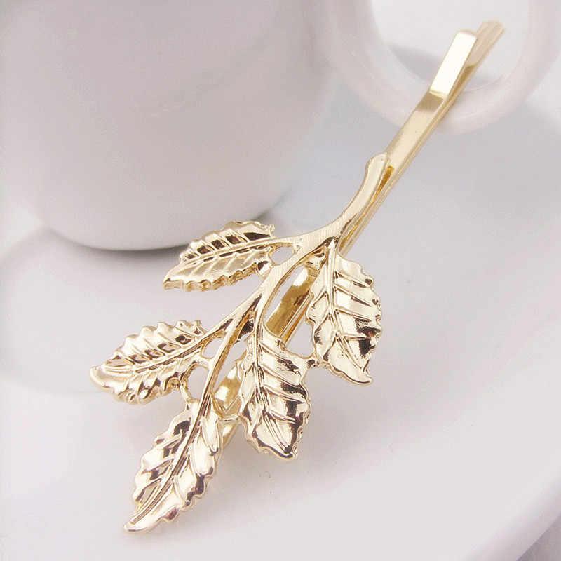 Модные милые листья золотой металлический панк шпилька для волос Зажимы 4JWD28