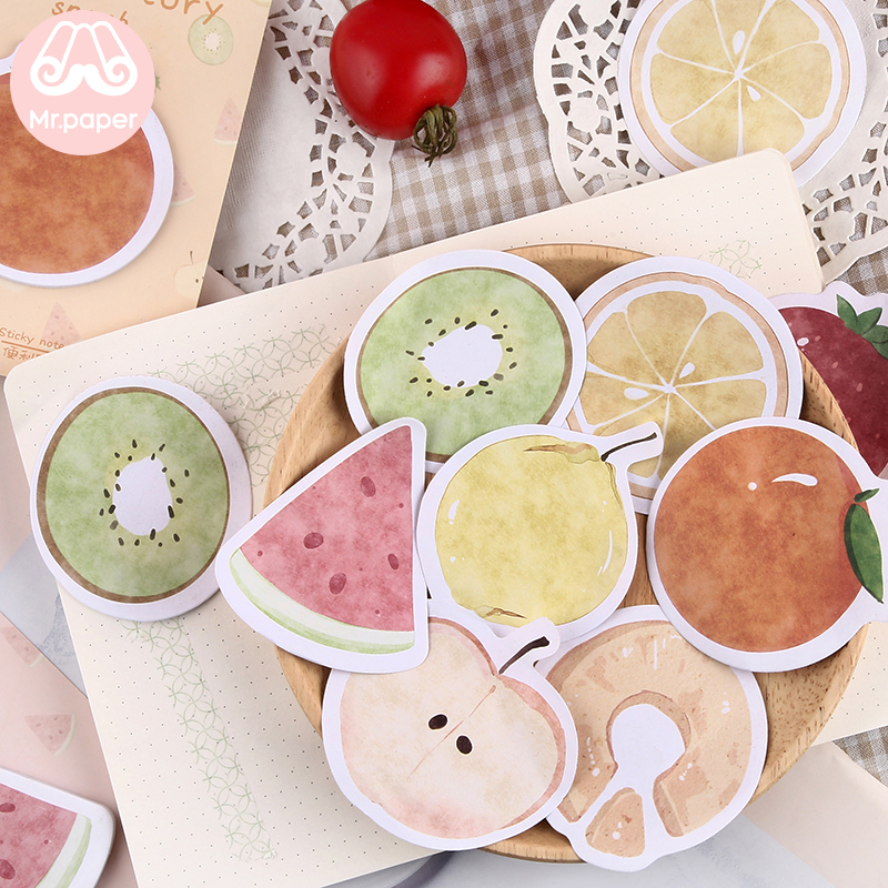 Mr Paper 30pcs/lot 6 Designs Kawaii Delicious Fruit Memo Pads Sticky Notes Notepad Diary Creative Self-Stick Notes Memo Pads