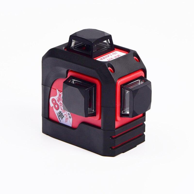 Fukuda, MW-93T 3D 12 Linee di livello del laser, livello Laser Rosso, Self-Leveling 360 Orizzontale, croce verticale Super Potente