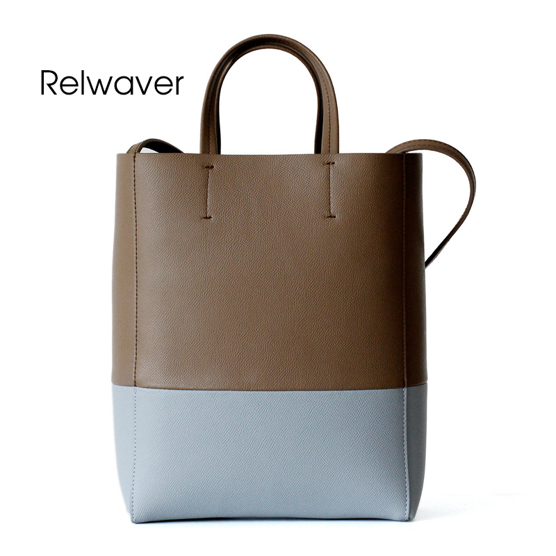 Relwaver grey contrast blue cowhide leather tote bag casual open women leather handbags chic stylish small women's shoulder bag цена