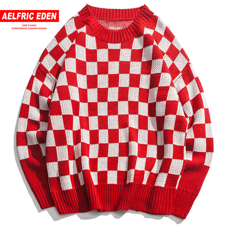 Aelfric Eden 2018 New Arrival Mens Sweaters Autumn Winter Plaid Pullovers Fashion O Neck Knitted Long Sleeve Casual Sweater Cv05