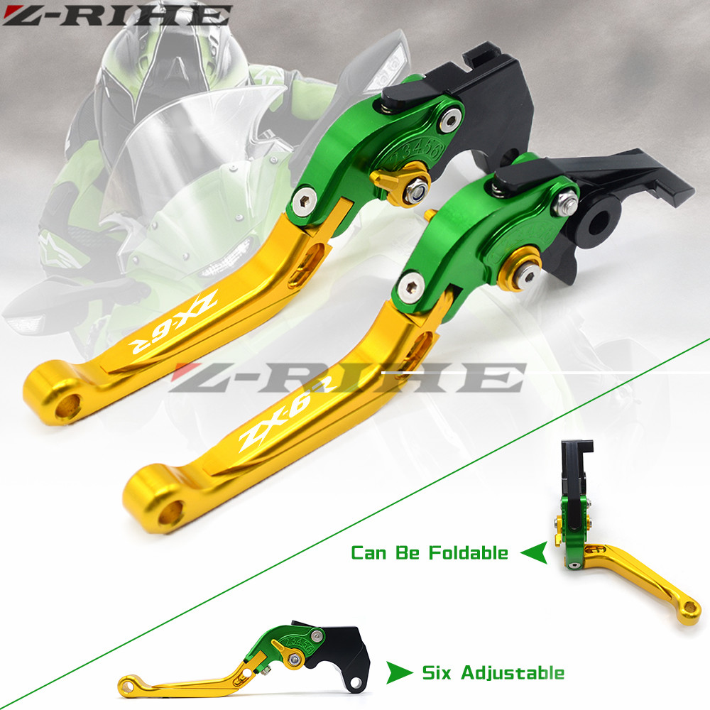Laser Logo Green&Titanium CNC Adjustable Motorcycle Brake Clutch Levers For Kawasaki ZX6R ZX-6R ZX 6R 2000 2001 2002 2003 2004