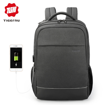 Tigernu Fashion New Style Laptop Backpack Travel Business School Bags for MaleFemale Backpack With USB Charging new style school bags for boys