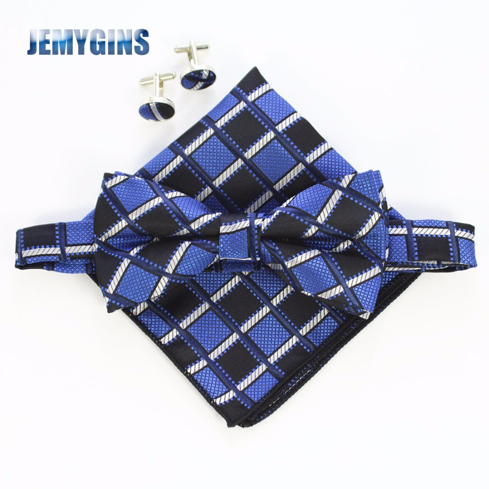 JEMYGINS Mode Heren Manchetknopen Bowtie en Pocket Vierkant Set Man Vlinderdas Zakdoek Set Voor Bruiloft Vintage Plaid Hanky