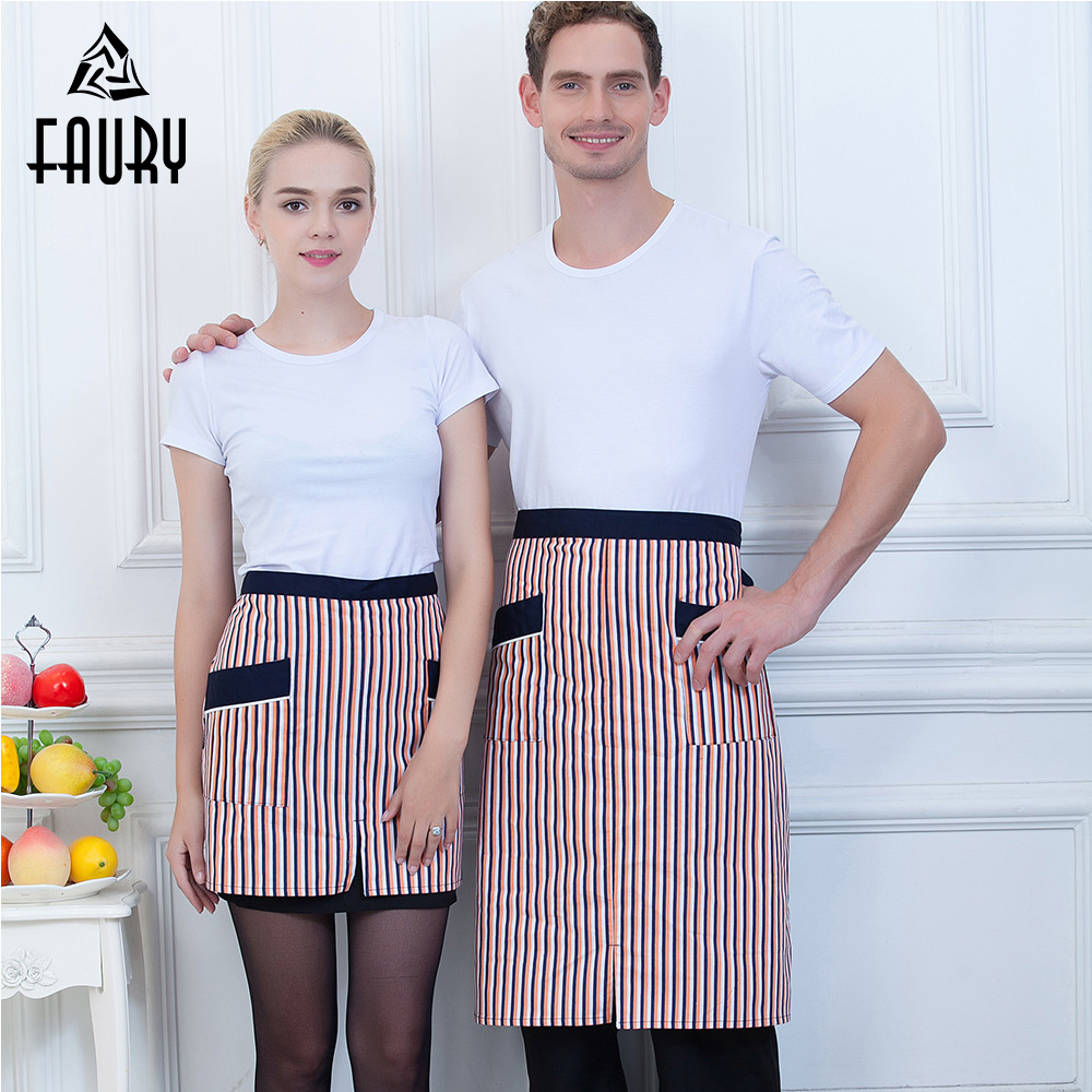Wholesale Chef Couple Striped 2 Pockets Spliced Color Food Service Kitchen Cooking Wear Apron Waiter Restaurant Work Uniform