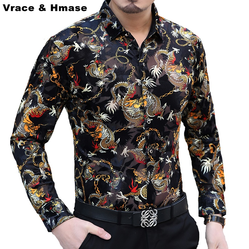 New arrival 2016 Autumn and Winter fashion slim long sleeve shirt  Personalized dragon velvet printing high-end men shirt M-XXXL 29b1dad298