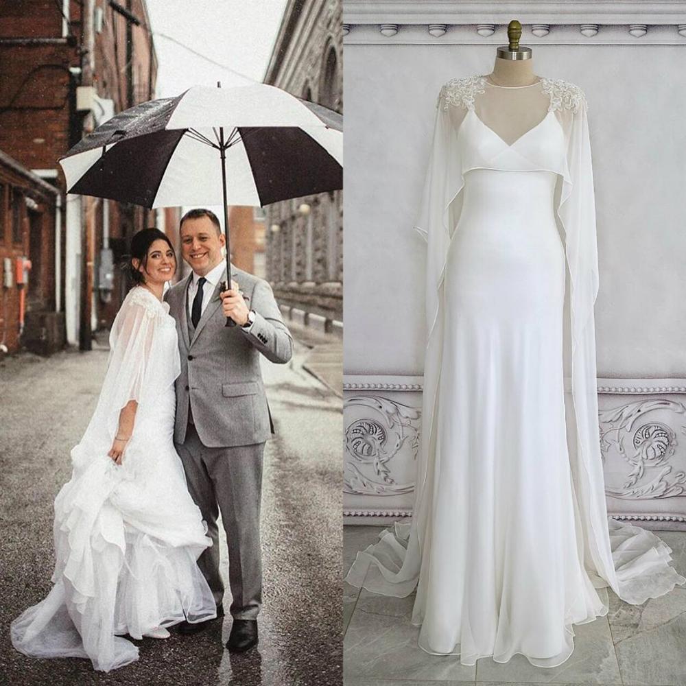 Jewel Neck Long Bridal Bolero Shawls with Lace Appliques Cloak Custom Made Wedding Cape