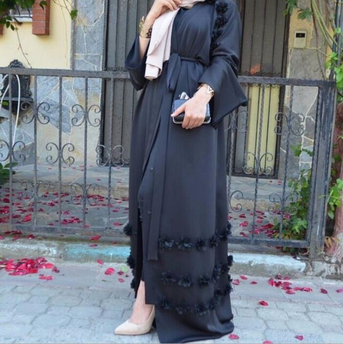Plus Size 5XL Three-dimensional applique Abaya Muslim Women Long Loose Cardigan  dress Dubai Turkish e4c3f80b4a2d