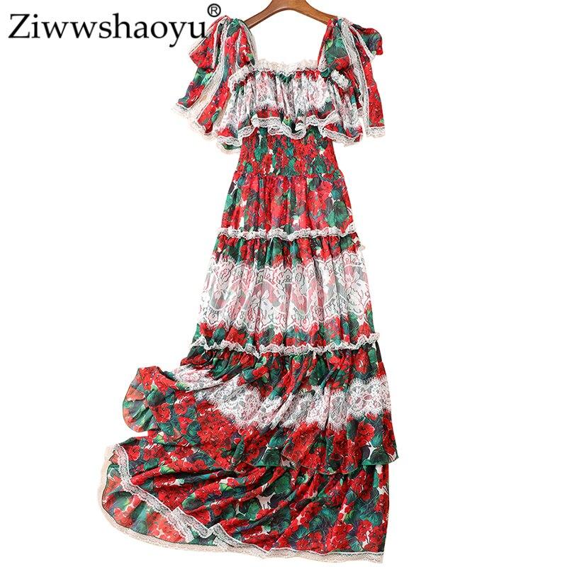 Ziwwshaoyu vacances imprimer Maxi robes Slash cou volants dentelle Patchwork grande robe pendule nouvelles femmes