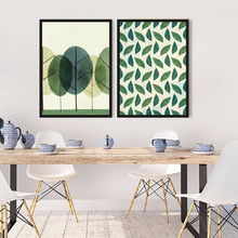 ФОТО tempest nordic minimalism canvas painting tree art living room wall pictures green leaf prints and posters home decoration