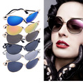 Mujeres Señoras del Estilo de La Vendimia Del Ojo de Gato gafas de Sol Retro Redondo Niñas Marco de Metal Gafas de Sol Para Las Señoras 2016 Gafas de Moda