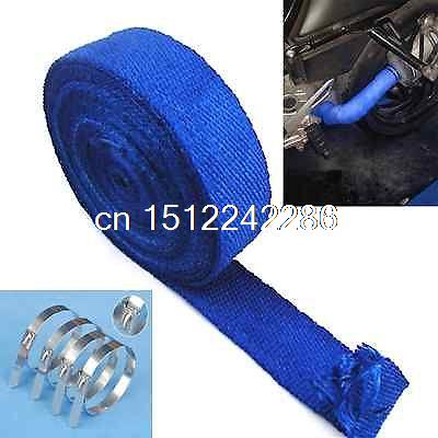 50ft Blue Turbo Manifold Heat Exhaust Thermal Wrap & Stainless Ties For Honda 10pcs stainless steel metal cable ties tie zip wrap exhaust heat straps induction pipe