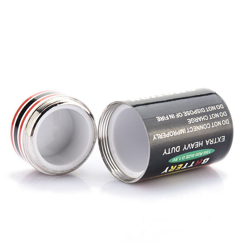 1PCS Creative Hidden Money Coins Container Case Pill Box Battery Storage Boxes Battery Secret Stash Diversion Safe 4.5*2.4cm