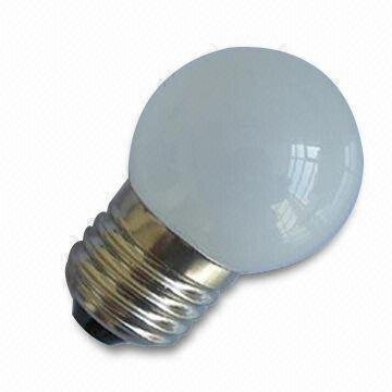G40 LED Ball Bulb;AC120V/220V input;0.5W;E27 base;40*62mm;12pcs led;glass housing;warm white color