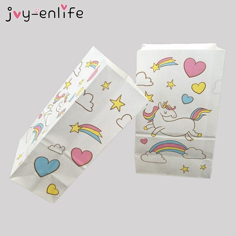 JOY-ENLIFE 10pcs Unicorn Birthday Candy Bags Kids Party Gift Packaging Baby Shower Unicornio Aniversario Wedding Decor Supplies