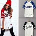 2016 Verão Moda Hip Hop Baseball T shirt do estilo Coreano solto Unisex Das Mulheres Dos Homens T Tops Maré mujeres camiseta Tshirt TM0133T