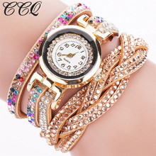 CCQ 2017 Vogue Girls Rhinestone Braided Leather-based Bracelet Watch Informal Quartz Women Clock Relogio Feminino Present C71