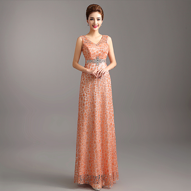 a86ab0267b Elegante Cuello En V Apliques Largos Vestidos de Noche Rectos Lentejuelas  Con Cuentas Plisado Vestido de