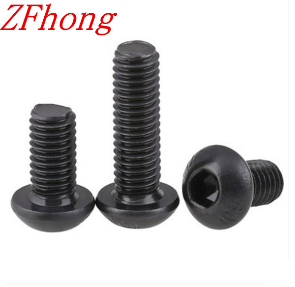 100pcs Grade10.9  iso7380 M3*3/4/5/6/8/10/12/14/16/18/20 3mm Hex Socket Button Head Screws steel with black 7380 fan7380 sop 8