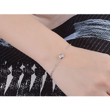 LUKENI Cute Crystal Round Female Bracelets Jewelry Top Quality 925 Sterling Silver Bangles For Girl Lady Party  Bijou