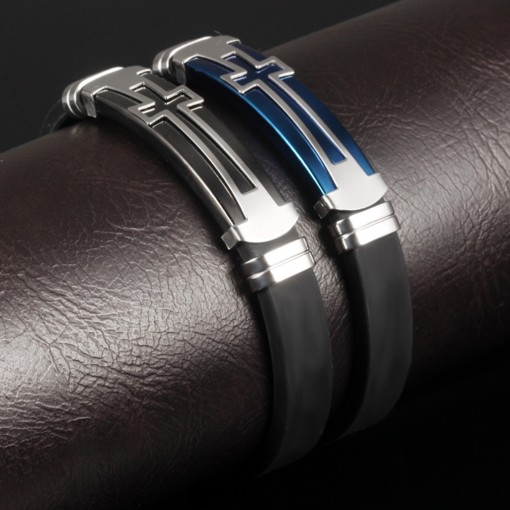 Charm Black Silicone Man Bracelets Classical Stainless Steel Big Cross Men Jewelry Religious Jewelry Gifts for Him