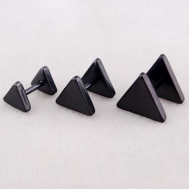 Fashion Punk Triangle Ear Studs Silver Gold Black Stainless Steel Women Men Geometric Barbell Stud