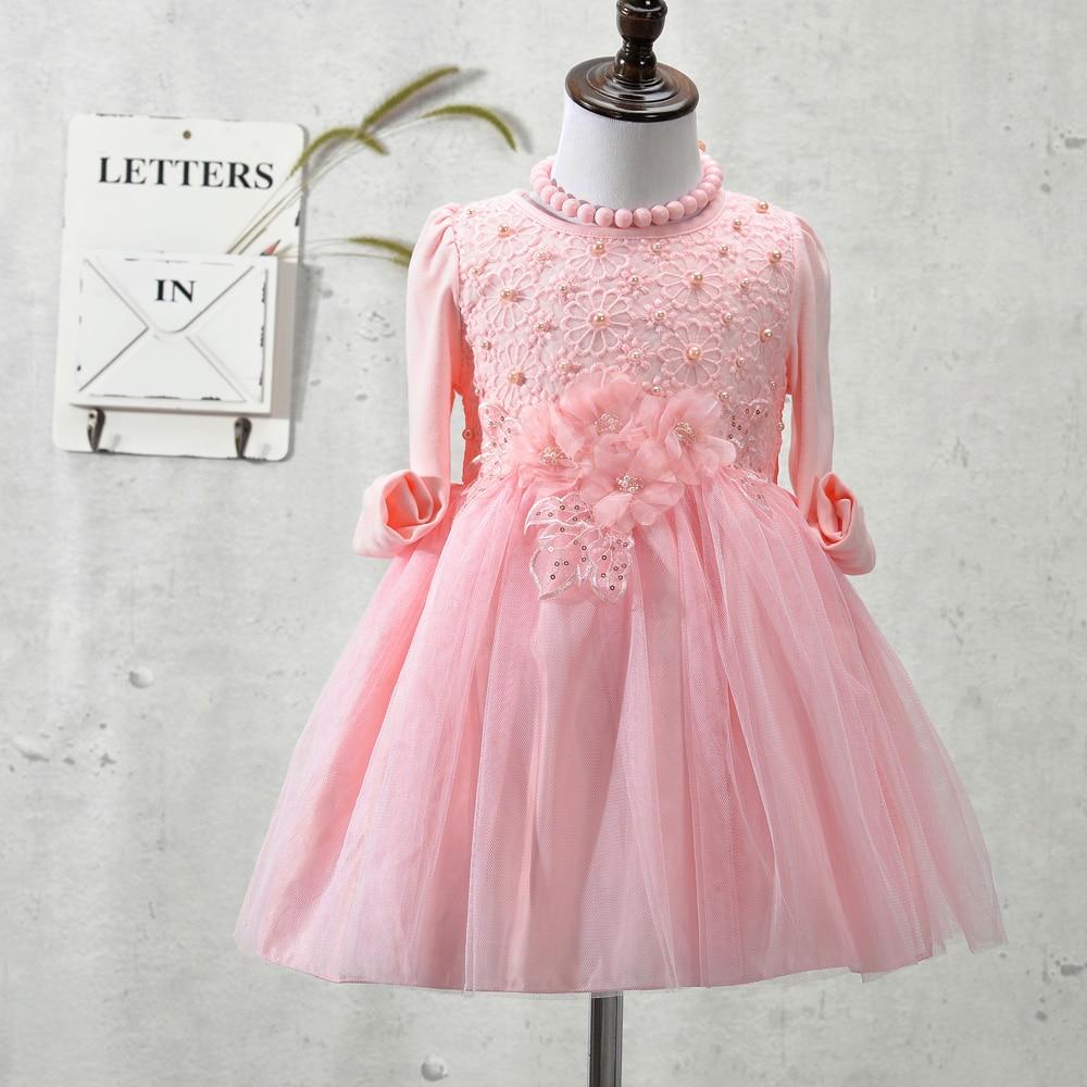 New Type Children Toddler dress, flowers pearls baby girls dress ...