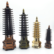 Metalowe Rzemiosło Chiny Pagoda Kultury Dobrobyt Piramida Model Distinguished Wenchang Tower Luckey 4 Rozmiary Home Decoration