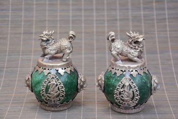 collection  Qing Dynasty a pair of Silver&jade Kirin Hydrangea,A PAIR,free shipping
