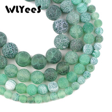 WLYeeS Green Weathered onyx carnelian beads 6 8 10 12mm Natural Stone Round Loose Bead ball for Jewelry Bracelets Making DIY 15
