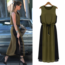 Top Fashion  beautiful summer sleeveless loose plus size chiffon one-piece dress bohemia full also for Maternity clothing