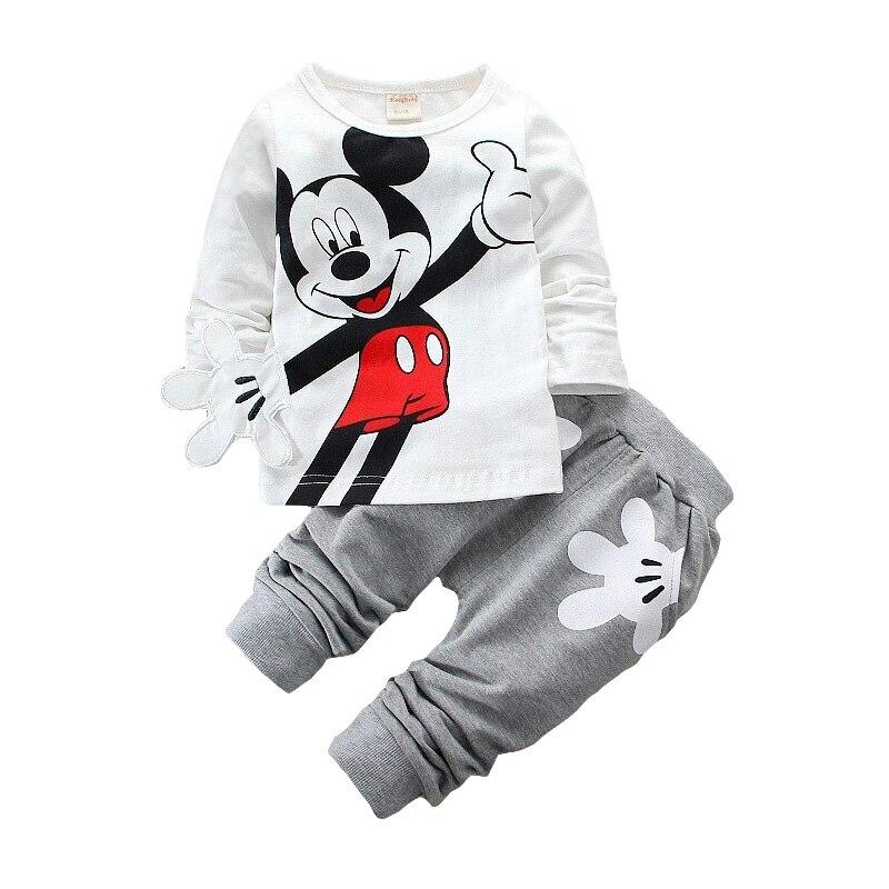 Jungen Mädchen Kleidung Sets Kinder Baumwolle Sport Anzug Kinder Mickey Minnie Cartoon T-shirt Und Hosen Set Baby Kinder Mode Kleidung