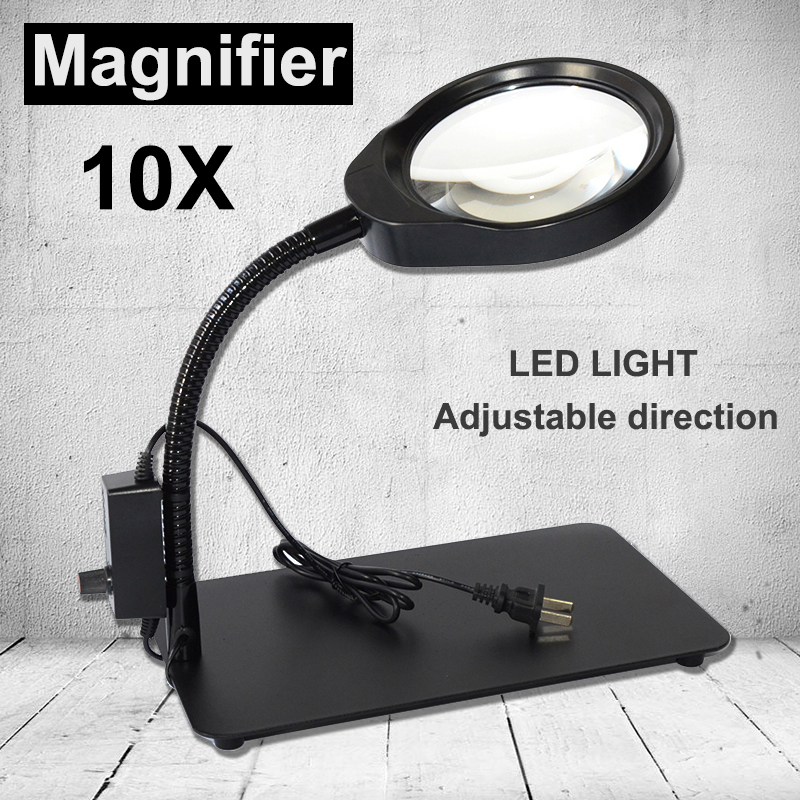 5X 8X 10X 48 LED Light Magnifier & Desk Lamp Helping Desktop Magnifying Tool / Desktop Magnifying glass new universal desktop magnifier usb with led light 10x for maintenance reading micro engraving magnifying glass
