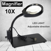 5X 8X 10X 48 LED Light Magnifier & Desk Lamp Helping Desktop Magnifying Tool / Desktop Magnifying glass
